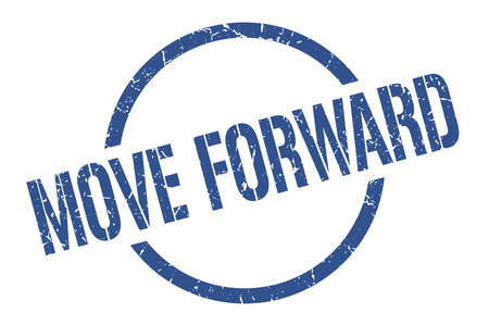 move forward blue round stamp