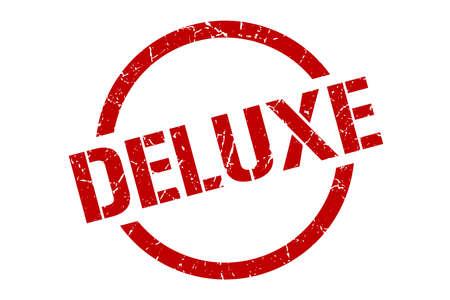 deluxe red round stamp Standard-Bild - 126188210