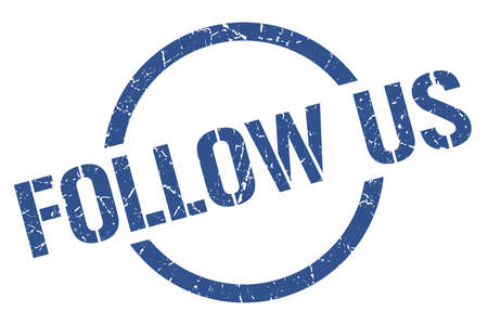 follow us blue round stamp