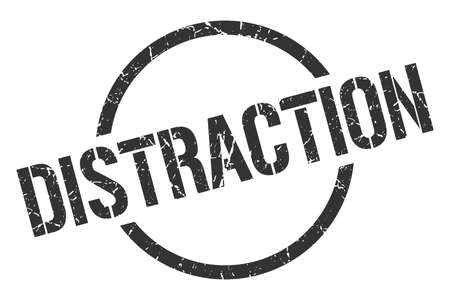 distraction black round stamp