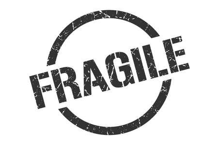 fragile black round stamp