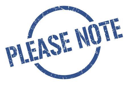 please note blue round stamp