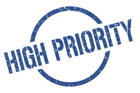 high priority blue round stamp Ilustracje wektorowe