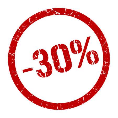 -30% red round stamp