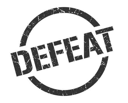 defeat black round stamp