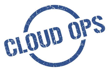 cloud ops blue round stamp Illustration