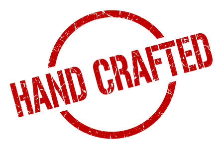 hand crafted red round stamp