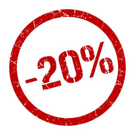 -20% red round stamp