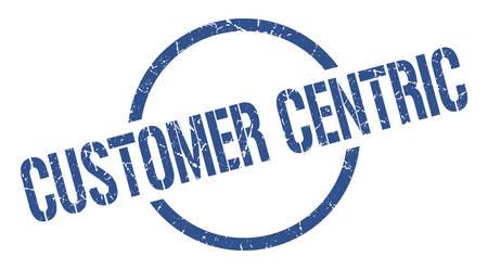 customer centric blue round stamp