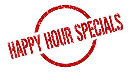happy hour specials red round stamp Vettoriali