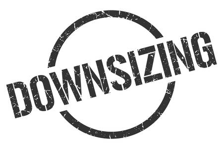 downsizing black round stamp