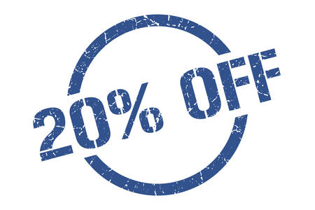20% off blue round stamp