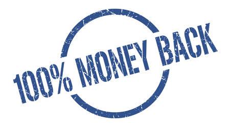 100% money back blue round stamp
