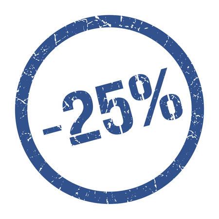 -25% blue round stamp