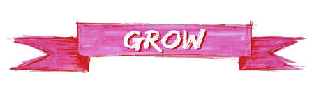 grow hand painted ribbon sign