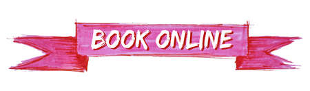 book online hand painted ribbon sign