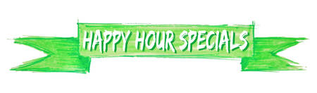 happy hour specials hand painted ribbon sign