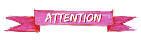 attention hand painted ribbon sign