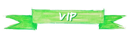 vip hand painted ribbon sign Vector Illustration