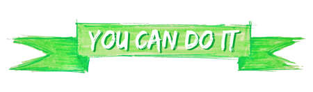 you can do it hand painted ribbon sign 스톡 콘텐츠 - 124591115