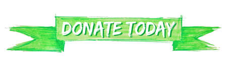 donate today hand painted ribbon sign Stock Illustratie