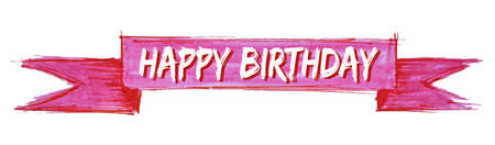 happy birthday hand painted ribbon sign