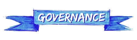 governance hand painted ribbon sign Stok Fotoğraf - 124592845