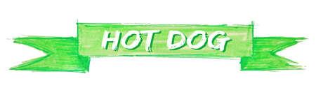 hot dog hand painted ribbon sign Illustration