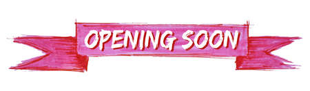 opening soon hand painted ribbon sign