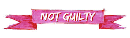 not guilty hand painted ribbon sign