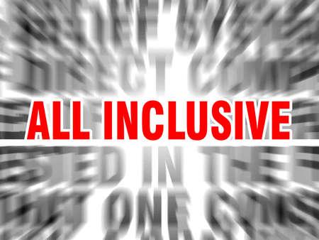 blurred text with focus on all inclusive Illusztráció