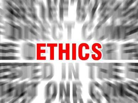 blurred text with focus on ethics Ilustração Vetorial