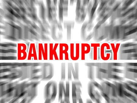 blurred text with focus on bankruptcy Çizim