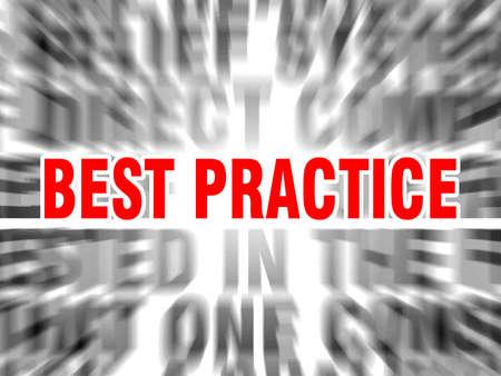 verschwommener Text mit Fokus auf Best Practice