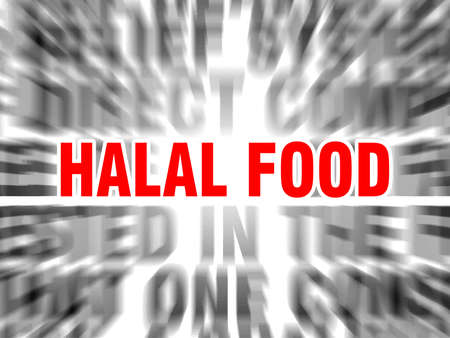 blurred text with focus on halal food