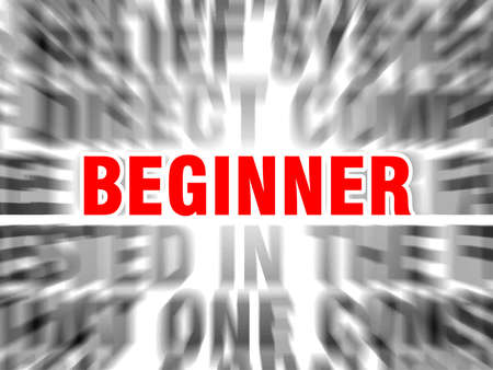 blurred text with focus on beginner Ilustración de vector