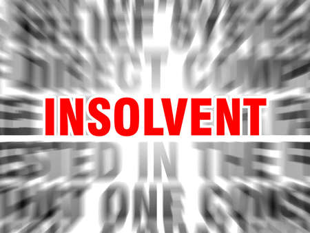 blurred text with focus on insolvent Çizim