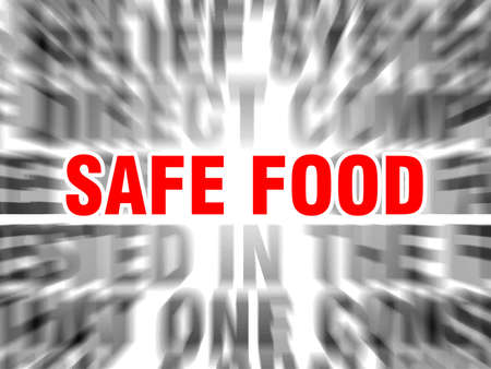 blurred text with focus on safe food Çizim