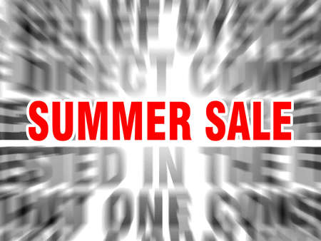 blurred text with focus on summer sale
