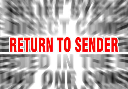 blurred text with focus on return to sender Stockfoto - 123018681
