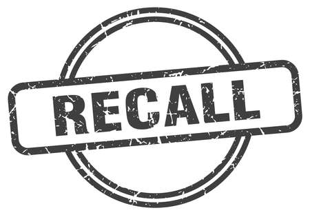 recall vintage stamp. recall sign