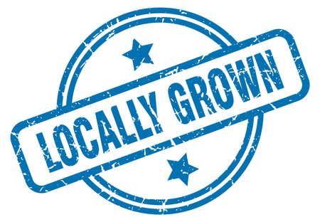 locally grown round vintage grunge stamp