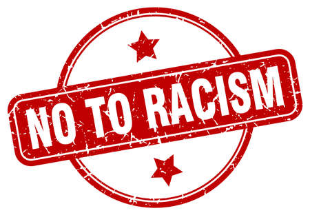 no to racism vintage round isolated stamp