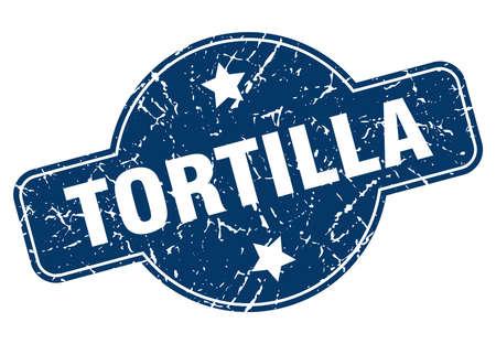 tortilla vintage round isolated stamp Illustration