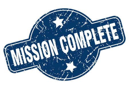 mission complete vintage round isolated stamp