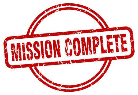 mission complete round vintage grunge stamp