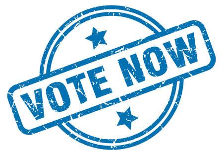 vote now round vintage grunge stamp