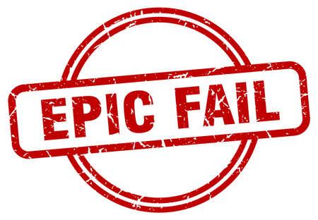 epic fail rotondo timbro vintage grunge