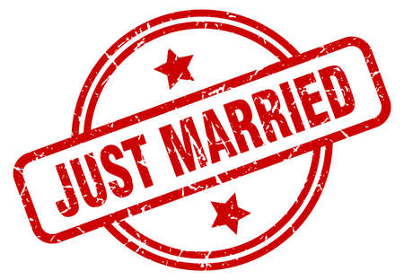 just married round grunge isolated stamp