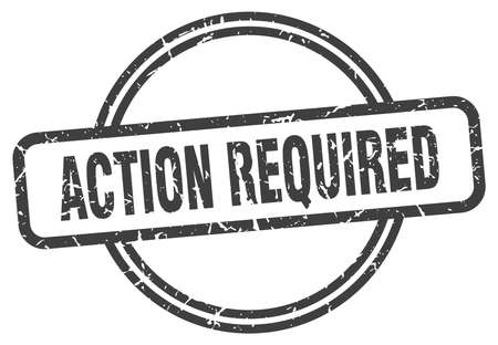 action required vintage stamp. action required sign